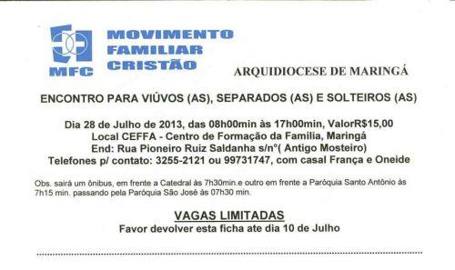 ENCONTRO PARA VI&UacuteVOS(AS), SEPARADOS(AS) E SOLTEIROS(AS)